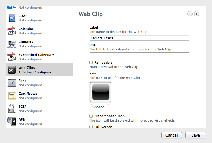 Apple Configurator - Web Clip